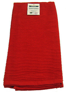 Now Designs Red Single 100% Cotton Ripple Kitchen Tea Towel Dish Drying Cloth