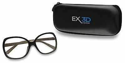 1 Pair EX3D1008/215 Eyeware Womens Polarised Passive 3D TV Glasses & Case Black