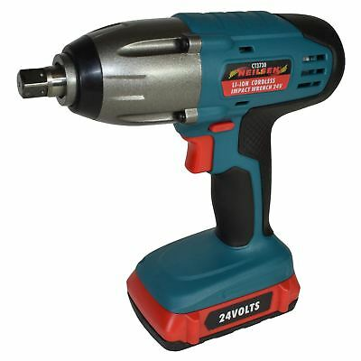 "24v LiIon Cordless Battery Impact Wrench Gun 1/2"" Drive With 2 Twin Lithium Bat"