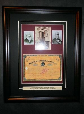 American Express Signed Stock Certificate Wells Fargo Reprint Portraits Framed