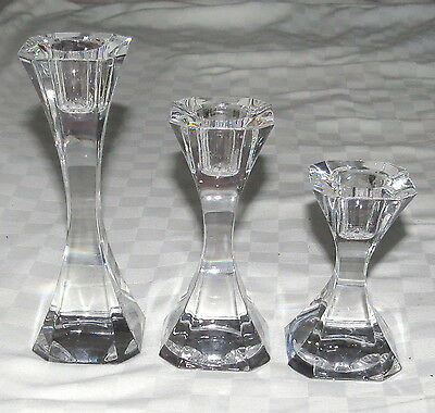 Villeroy & Boch Crystal Candlesticks Candle Holders - Set of Three