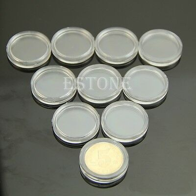 10pcs 21mm Applied Clear Round Cases Coin Storage Capsules Holder Round Plastic