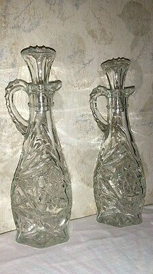 """Set of 2 Vintage Cut Glass Oil & Vinegar Dispensers and tops - 7.75"""" Tall"""