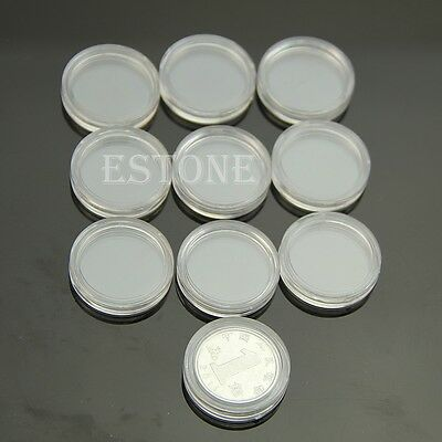 New 10pcs 20mm Clear Round Cases Coin Storage Capsules Holder Round Plastic