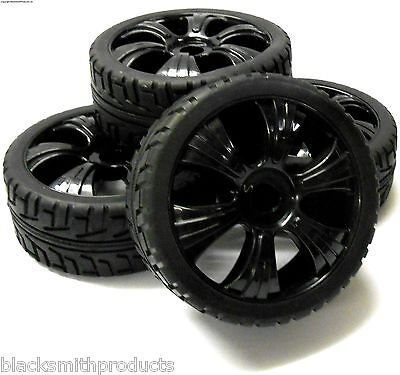 180023 1/8 Scale Buggy RC Wheels and On Road Tread Tyres 6 Spoke Black 4
