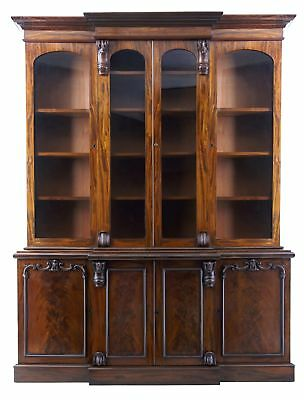 Superb Quality Early Victorian 19Th Century Flame Mahogany Breakfront Bookcase