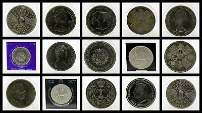 1953 - 1981 English British Royal Mint Crowns Five Shillings Queen Elizabeth II