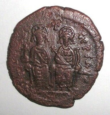 Ancient Byzantine Empire, Justin II & Sophia, 565 - 578 AD. AE-Follis