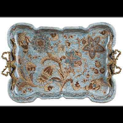 NEW MONTICELLO PATTERN PORCELAIN & BRONZE tray with bow handles