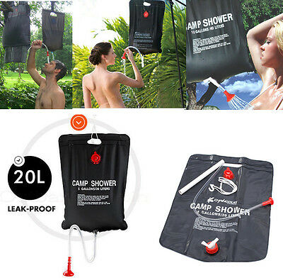 20L 5Gallon SOLAR Camping Shower Portable Outdoor Camping Hiking PVC Water Bag