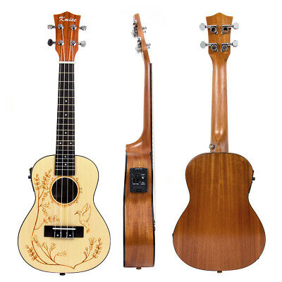 Kmise Laminated Concert Ukulele Spruce Electric Acoustic Hawaii Guitar 23 Inch