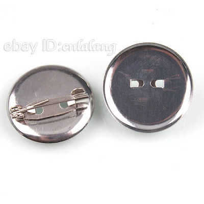 100x Hot Sale Iron Round Pin Back Brooch Components Handmade Jewelry Findings LC