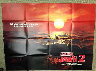 Jaws 2 / Original U.s. Two-Sheet Red Teaser Movie Poster (Roy Scheider)
