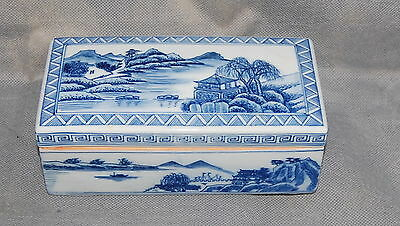 Antique Chinese Porcelain Qianlong Mark Blue White Landscape Covered Box