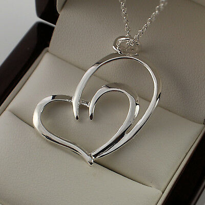 """925 Sterling Silver Plt Double Heart Pendant 18"""" Chain Necklace - New UK 139"""