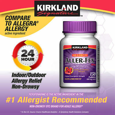 new kirkland signature aller fex 180 mg 150 tablets free shipping