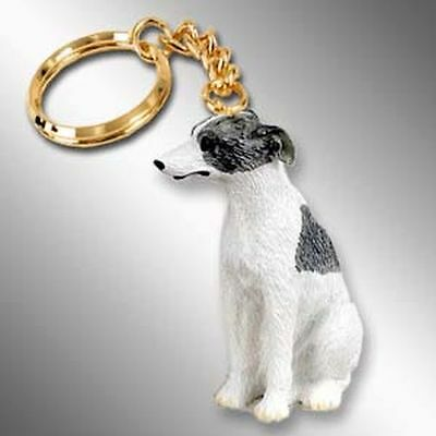WHIPPET Grey White Dog Tiny One Resin Keychain Key Chain Ring
