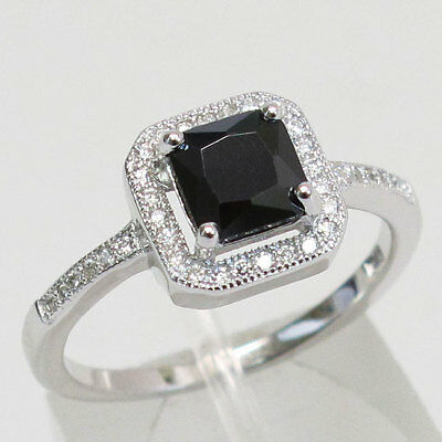 Lovely 1 Ct Princess Cut Black Stone 925 Sterling Silver Ring Size 5-10
