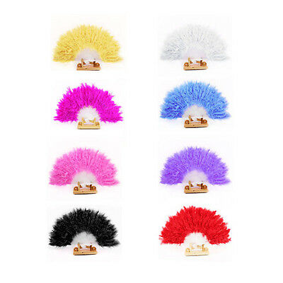 Women Feather Fan Dance Props Hand Goose Feather Folding Nice Wedding Fan lovely