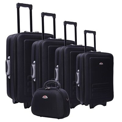 5pc Suitcase Trolley Travel Bag Luggage Set BLACK