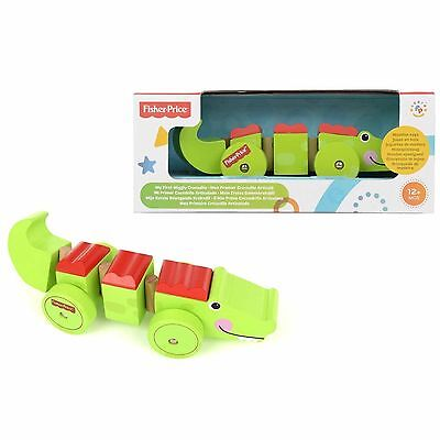 FISHER PRICE - My First Wiggly Crocodile - Wooden Pull-a-Long Toy 12mths+