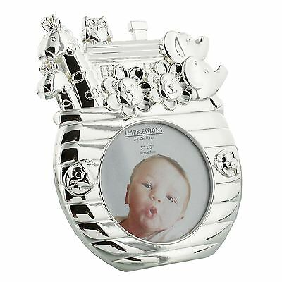 Impressions by Juliana Collection Silver Plated Cute Noah's Ark Baby Photo Frame