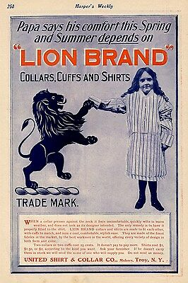 United Shirt And Collar Co. Advertisement Lion Brand Collars Cuffs And Shirts