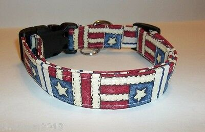 USA FLAGS Old World Stars Stripes Terris Dog Collar handmade Adjustable 4th July