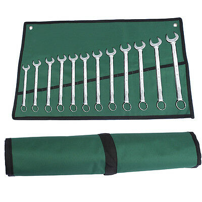 12 Pocket Canvas Roll Rolling Hanging Spanner Wrench Tool Storage Bag Fold Up