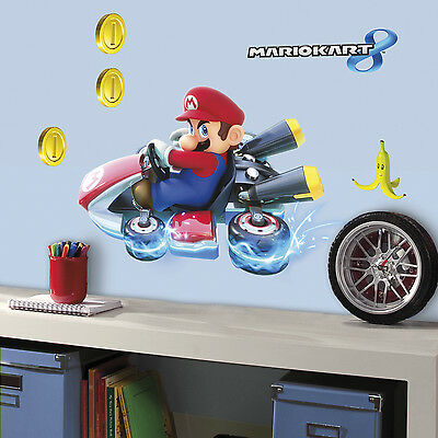 """New 25"""" SUPER MARIO KART WALL DECALS Giant Stickers Kids Video Game Room Decor"""