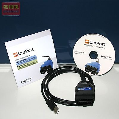 OBD2 USB KKL+CAN UDS Diagnose Interface VCD VW AUDI Skoda + CarPort Software ++