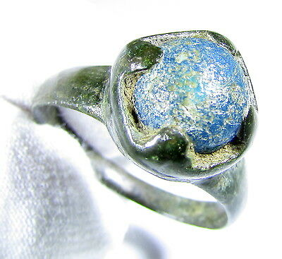 Stunning Medieval Period Bronze Ring With Blue Stone In Bezel - Wearable  - Ab25