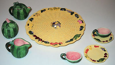 VINTAGE MINIATURE 1990s WATERMELON AND FRUIT TEA SET.  NEW IN BOX.