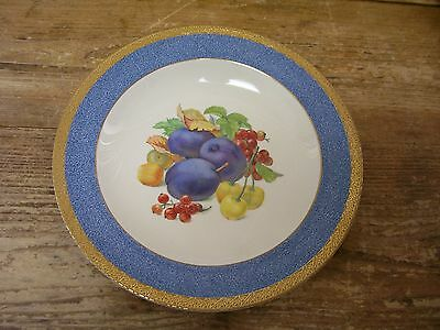 Crown Ducal Plum Soup Cereal Bowl Fruit Center Blue Gold Rim England