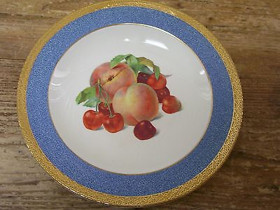 Crown Ducal Peach Soup Cereal Bowl Fruit Center Blue Gold Rim England