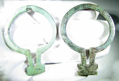 SUPERB LOT OF 2 ANCIENT CELTIC OMEGA BROOCHES / FIBULA - c 200 BC - AB60