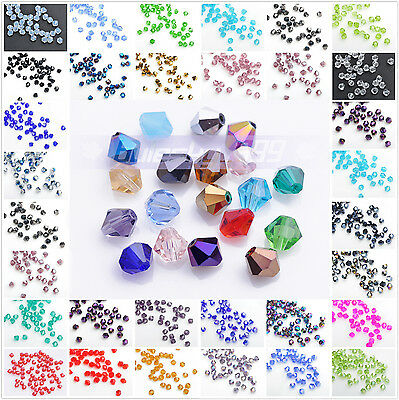 Wholesale 200pcs 3mm Bicone Faceted Crystal Glass Loose Spacer Beads