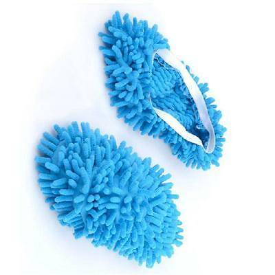 1pair Multi-Function Chenille Fibre Washable Dust Mop Slippers Cleaning Shoes JG