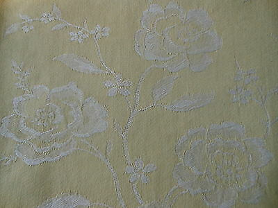 Antique French Floral Soft Yellow Damask Cotton Ticking Fabric