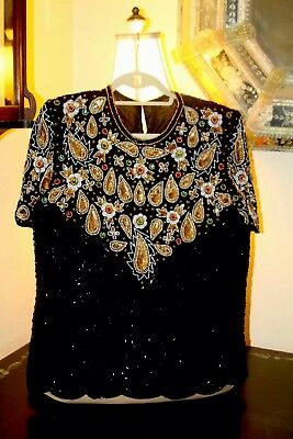 Ornate Vintage Beaded Jeweled Evening Top