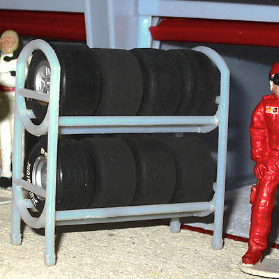 SLOT TRACK SCENICS Pit Lane Tyre Rack with 8 Wheels & Tyres - for Scalextric