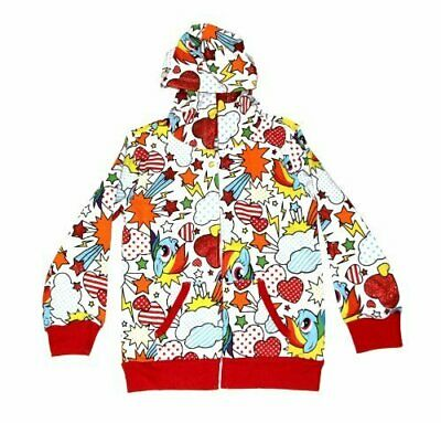 Toddlers My Little Pony Rainbow Dash Fun Pattern White Zip Up Hoodie Sweatshirt