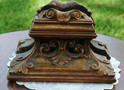 Pair of Vintage Heavy Ornate Chalkware Bookends With Classic Design