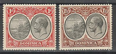 Dominica 1923 Kgv Badge 1D And 11/2D