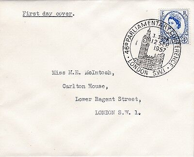 GB 1957 PARLIAMENTARY Stamp FDC HOUSE of COMMONS Env SPECAIL LONDON PMK Ref:520