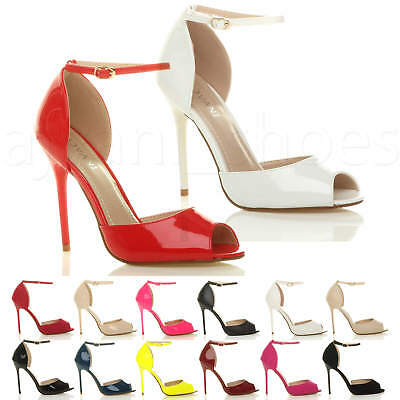 Womens Ladies  Stiletto High Heel Peep Toe Ankle Strap Buckle Sandals Shoes Size