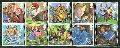 Great Britain 2015 Alice In Wonderland Set Of Ten Stamps Mint Never Hinged