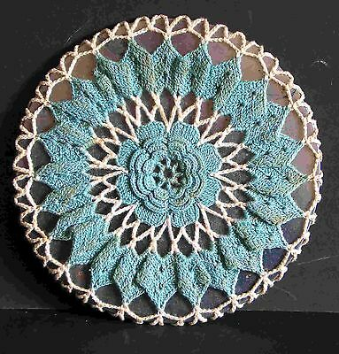 "VINTAGE Hand Crocheted Cover Metal Kitchen Trivet FLAME PAD 7 1/4"" across"