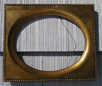 Vintage Victorian Aged Art Crafts Beaded Oval Center Picture Frame w HBS Print