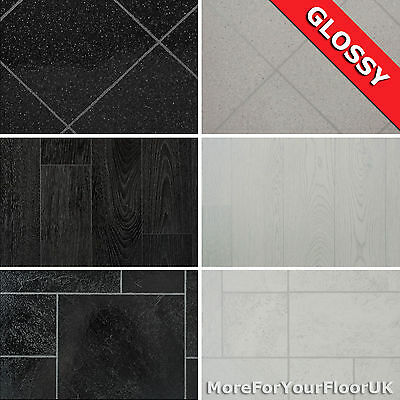 Glossy Wood, Tile Effect Vinyl Flooring Quality Lino 2m 3m 4m 2.7mm CHEAPEST